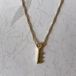 NWT Key necklace with green stones